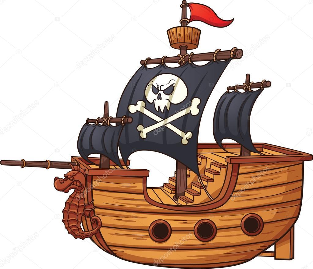 Barcos Pirata Caricatura Barco Pirata Vector De Stock