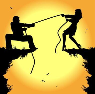 Tug of war between man and woman