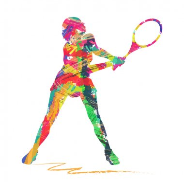 Abstract Tennis player silhouette