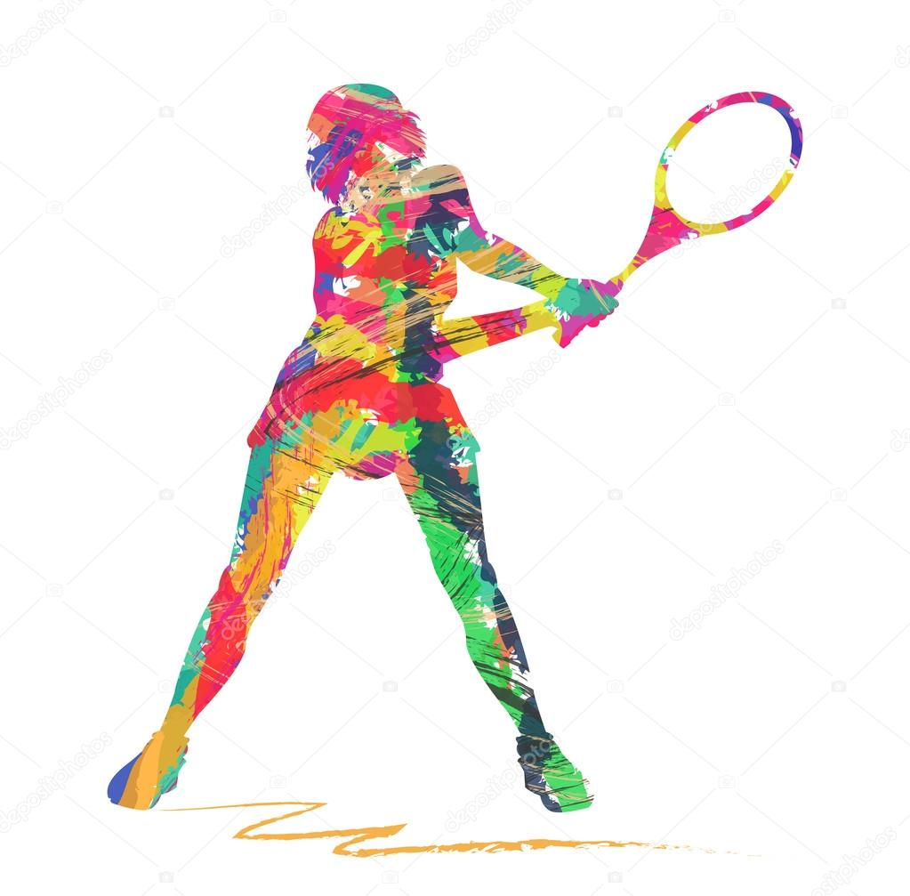 Abstract Tennis Player Silhouette Stock Vector
