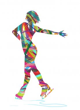 Abstract silhouette of ice skater stock vector