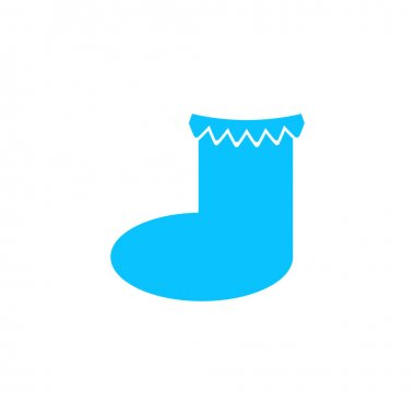 Christmas sock icon flat. Blue pictogram on white background. Vector illustration symbol icon