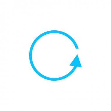 Refresh reload rotation loop icon flat. Blue pictogram on white background. Vector illustration symbol icon