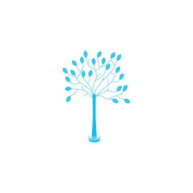 Decorative tree icon flat. Blue pictogram on white background. Vector illustration symbol icon