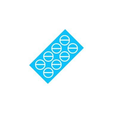 Pills blister pack icon flat. Blue pictogram on white background. Vector illustration symbol icon