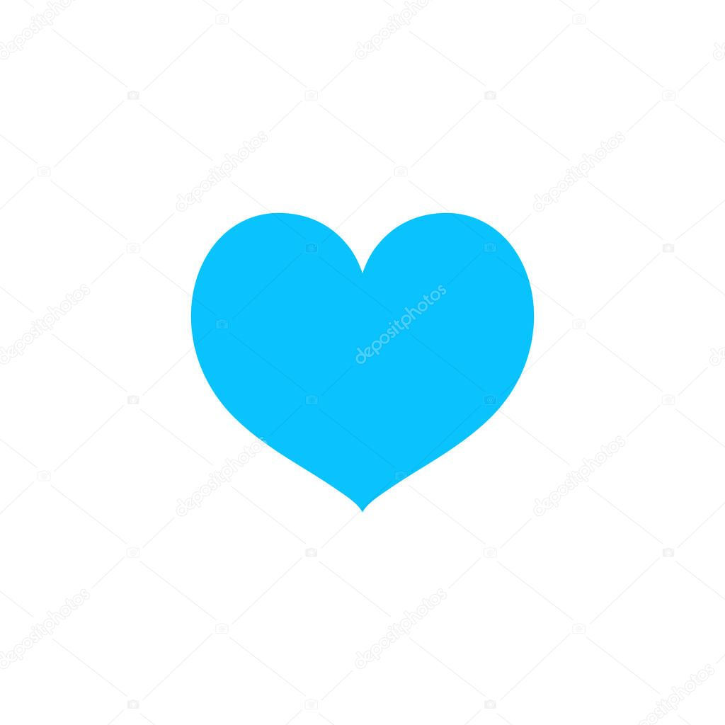 Heart icon flat. Blue pictogram on white background. Vector illustration symbol icon