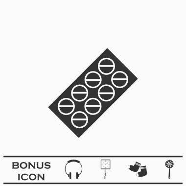 Pills blister pack icon flat. Black pictogram on white background. Vector illustration symbol and bonus button icon
