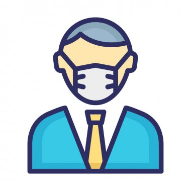 Accountant Wearing mask Vector Icon which can easily modify or edit