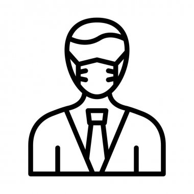 Businessman Wearing mask Vector Icon which can easily modify or edit icon