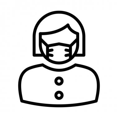 Female Wearing mask Vector Icon which can easily modify or edit icon