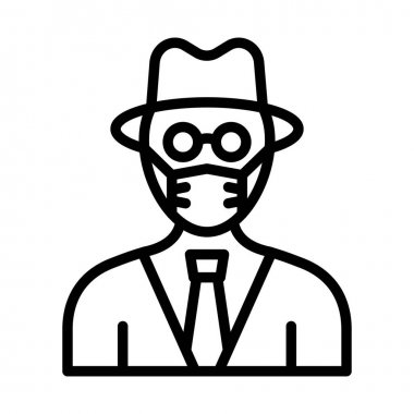 Detective Wearing mask Vector Icon which can easily modify or edit icon