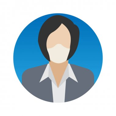 Businesswoman Professions Avatar with Face Mask Color Vector icon which can easily modify or edit icon