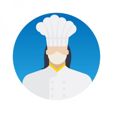 Female Chef Professions Avatar with Face Mask Color Vector icon which can easily modify or edit icon