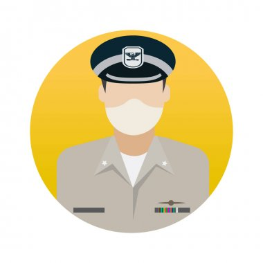 Pilot Professions Avatar with Face Mask Color Vector icon which can easily modify or edit icon