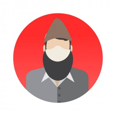 Muslim Professions Avatar with Face Mask Color Vector icon which can easily modify or edit icon