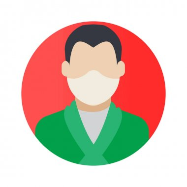 Gentleman Professions Avatar with Face Mask Color Vector icon which can easily modify or edit icon