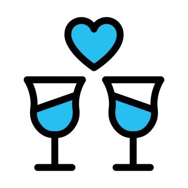 Champagne glasses, cheers Fill vector icon which can easily modify or edit icon