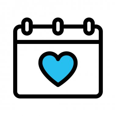 Heart calendar, love day Fill vector icon which can easily modify or edit icon
