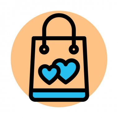 Hand bag, heart Fill Background vector icon which can easily modify or edit icon