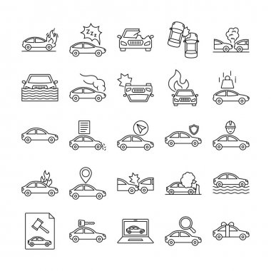 Car Accident Isolated set that consist with car insurance, flaming, collide, traffic, wreck, auction and  damage engine of car, every icon can be easily modify or edit