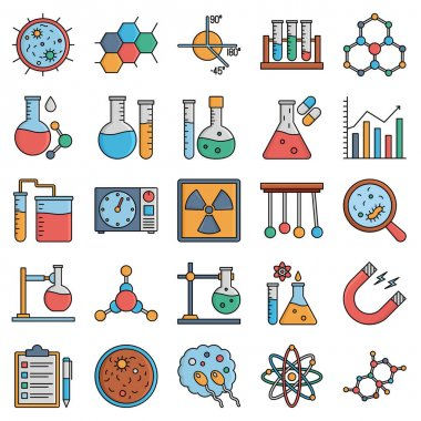 Chemical & Bio Lab Equipment Vector Icons Pack Every Single Icon can Easily Modify or Edit icon