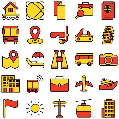 Tourism Isolated Vector Icons Pack that can be easily modified or edit icon