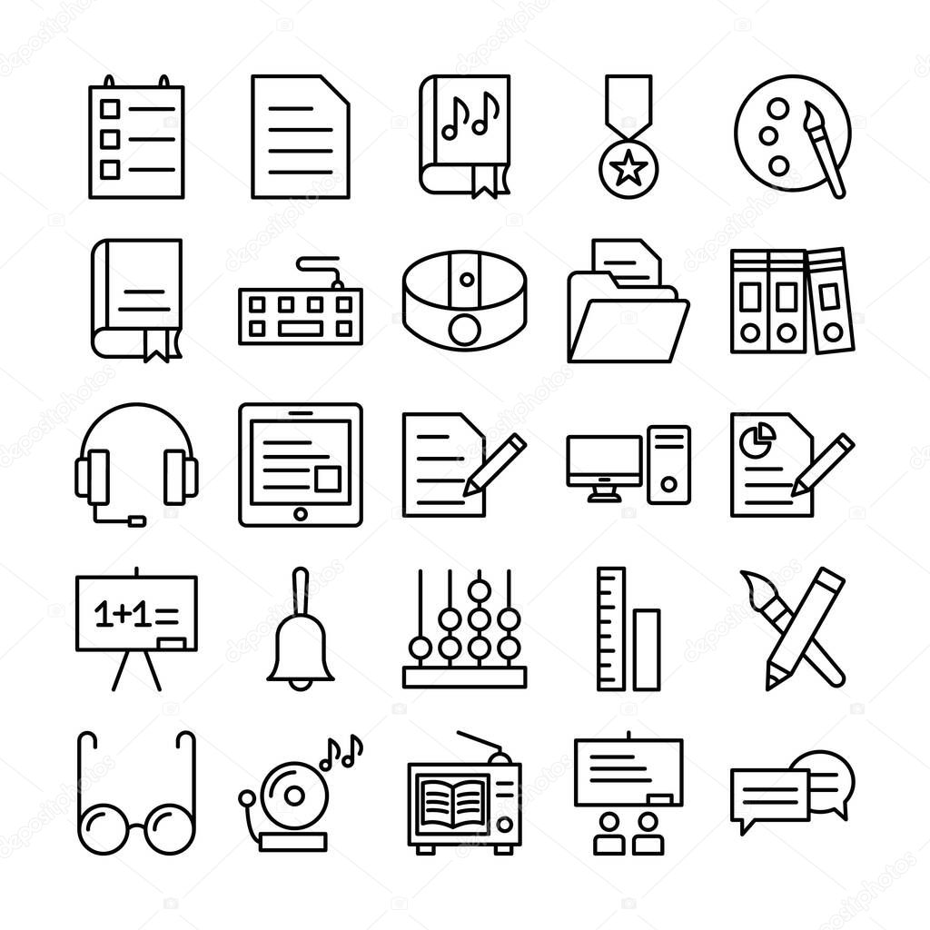 Education Icons pack consist with Data  Documents  Book dvd  Award  Art  Book   Computer device  Pencil cutter  Data folder  Binders  Audio  Elearning  Computer  Business concept  Auditorium  Alert and Abacus vector that can easily modify or edit icon