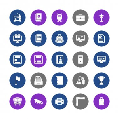 Education Icons pack consist with Bubble, Audio literature, Graduate owl, Attache case, Award, Distant learning, Distant learning, Backpack, Announcer, Business concept, Diskette, Diskette and Address book vector that can easily modify or edit icon