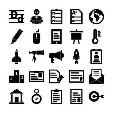Education Icons pack consist with Alphabets writing,  Learner, Agenda, Documentation, Earth globe, Felt pen, Computer mouse, Elearning, Analysis, Cold, Missile, Astronomy, Bullhorn, Alert and Employee card vector that can easily modify or edit icon