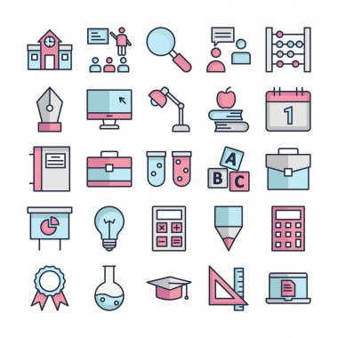 Education Icons pack consist with Architecture, Lecture, Magnifier, Communication, Abacus, Nib, Desktop, Anglepoise, Apple, Calendar, Data, Books bag, Apparatus,  Abc cubes, Books bag, Analysis and Bulb vector that can easily modify or edit icon