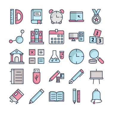 Education Icons pack consist with Degree tool, Book, Alarm clock, Laptop,  Award, Atom, Arch files, Calendar, Computer, Digital cube, Institute, Accounting, Flask, Clock,  Magnifier, Data and Flash drive vector that can easily modify or edit icon