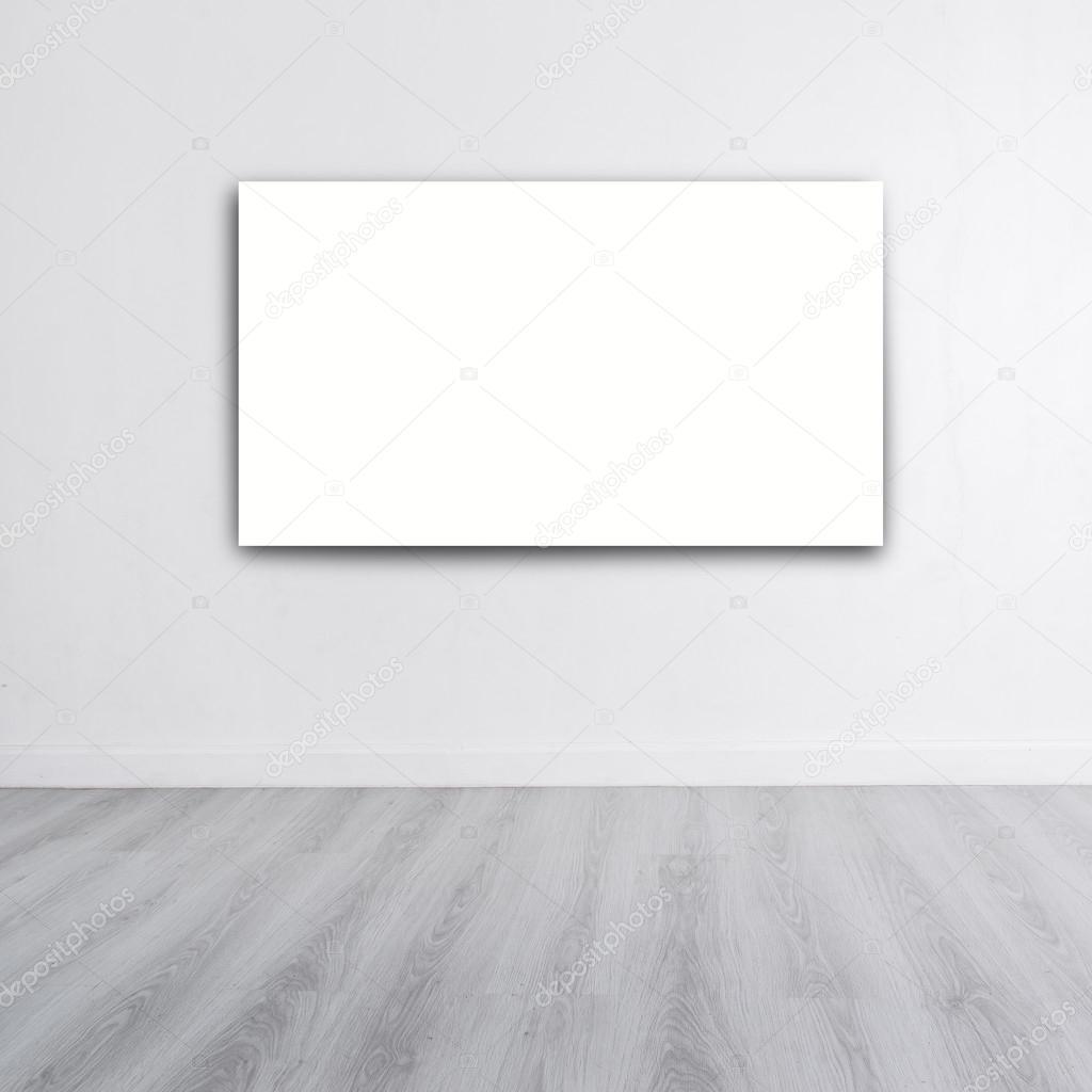 회색 나무 바닥 및 copyspac 흰색 벽에 포스터를 모의 — 스톡 사진 ...