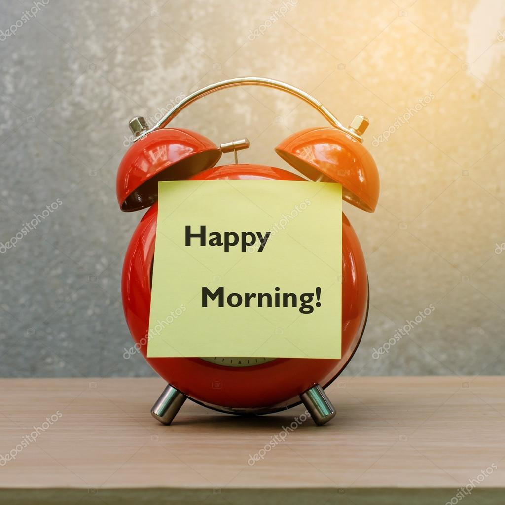 Retro Alarm Clock On Grunge Background With Word Good Morning Stock P O