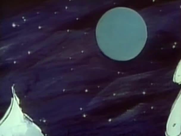 Mikulás és a rénszarvasok alatt hajózó, a Hold