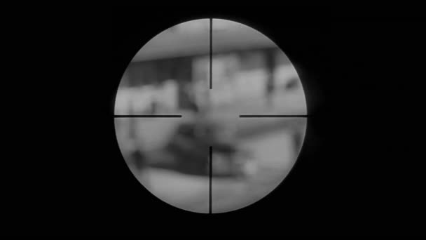 Rifle scope of police surrounding car