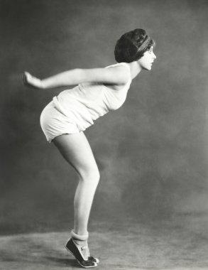 woman  pretending to dive