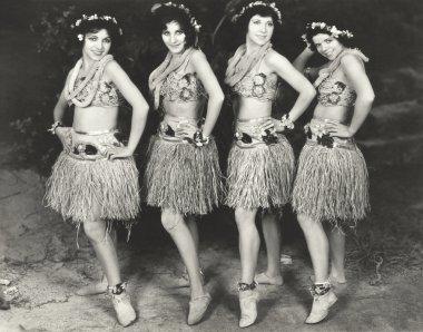 Hawaiian dancers posing