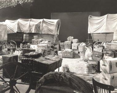 Vintage suitcases, hose carts