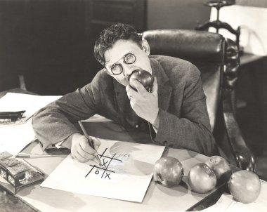 man Eating apples
