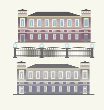 Detail picture of traditional townhouse on the street for card, gift, banner, border, vintage, book, homes, old style  vector clip art vector
