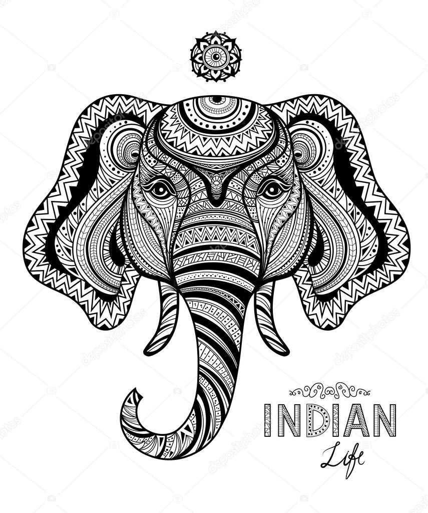 Zentangle Style Monochrome Sketch Elephant In Decorative Indian Ornament Mehndi For Design Elements Adult Anti Stress Coloring Page High Detailed Vector