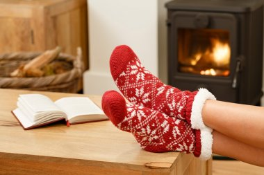 Christmas in front of fire