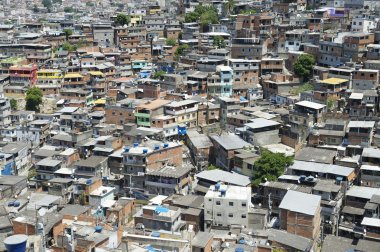 Crowded Brazilian Hillside Favela Shanty Town Rio de Janeiro Brazil