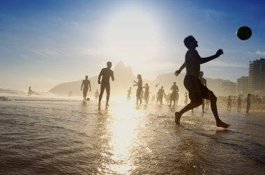 Silhouettes Brazilians Playing Altinho Beach Football Rio