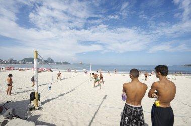 Brazilians Playing Beach Volleyball Rio de Janeiro Brazil Sunset