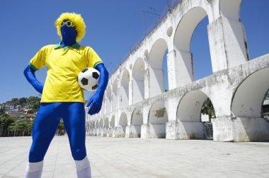Blue Brazilian Football Player Holding Soccer Ball Rio