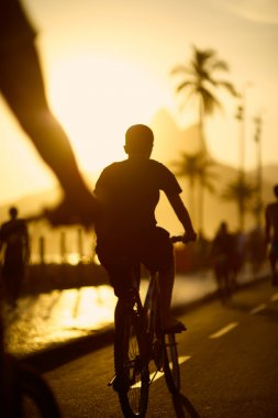 Biking Silhouettes Ipanema Beach Rio de Janeiro Brazil