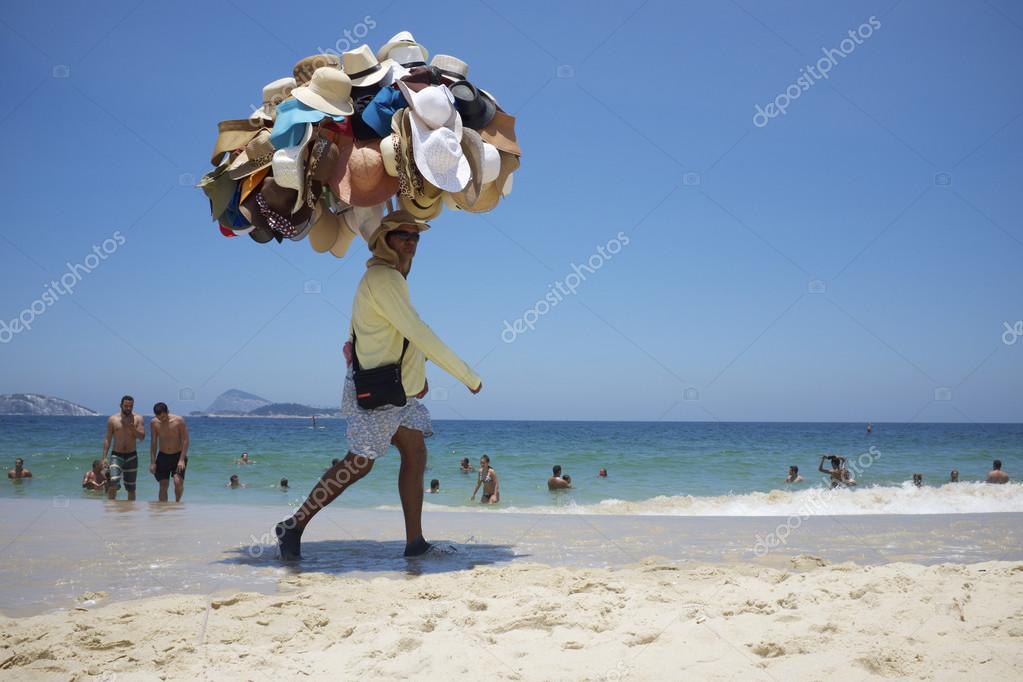 Hat Vendor Ipanema Beach Rio de Janeiro Brazil – Stock Editorial ... 87f9a35db6d