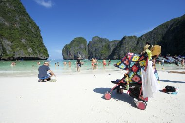 Maya Bay Thailand Family Tourists with Stroller