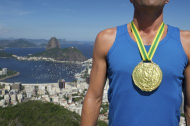 Gold Medal Athlete Standing Rio Skyline